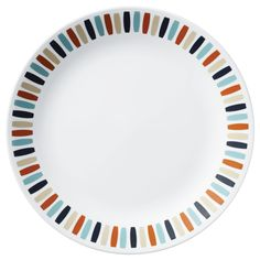 A range of colors found in nature, from cool slate and sky to warm adobe and sand, decorate the rim of this Corelle® dinner plate. Corelle Plates, Ornament Storage, Porcelain Mugs, Stoneware Mugs, Plates And Bowls, Dinnerware Sets, Serveware, Dinner Plates, Bowl Set
