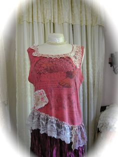 Rose Pink Tank Top shabby chic cottage style refashioned by Dede of TatteredDelicates @Etsy