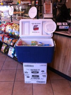 """Pasquale's Place in Douglassville was still collecting donations even after """"Stuff The Cooler"""" ended! The two boxes holding the cooler up are also filled with items for Meals On Wheels clients. Thank you to everyone who """"helped to make the season bright"""" for Berks County seniors! #ShareTheLove"""
