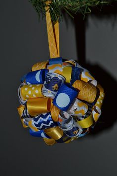 WVU Mountaineers Ribbon Topiarystyle Ornament by FlourGardenTreats, $9.00