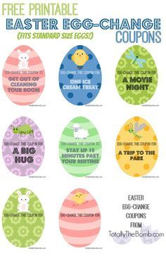 Free Printable Easter Egg-Change Coupons for Easter Baskets and Easter Eggs.