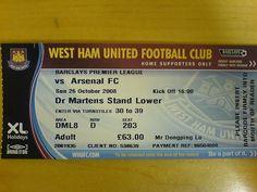 West Ham VS Arsenal Ticket