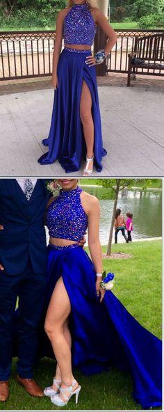 2017 prom dress, royal blue prom dress, long prom dress, beads long prom dress with slit, formal evening dress
