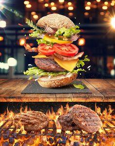 Coffee Break - La Canasta on Behance Food Graphic Design, Food Menu Design, Food Poster Design, Deco Restaurant, Burger Restaurant, Pub Food, Cafe Food, Gourmet Burgers, Creative Food