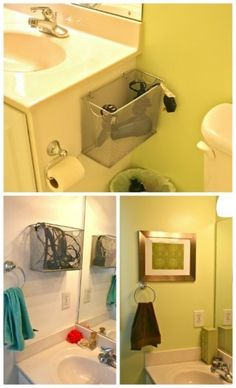 DIY Bathroom Appliance Storage - Metal file boxes are non-flammable which make them a great choice for storing those heated appliances and you can keep them within easy reach of the bathroom mirror.