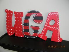Items similar to School letters EACH LETTER. painted letters in your schools colors. great graduation gift, grad party decor and dorm decor. on Etsy Grad Party Decorations, Locker Decorations, Great Graduation Gifts, Grad Gifts, College Graduation, Bulldogs Football, Georgia Girls, Painted Letters, Wood Letters