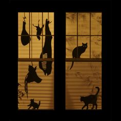 a vos papiers   I had an opportunity to decorate a house for Halloween [on a] strict $100 budget... I realized that the paper blinds on all of the windows provided me the chance to turn the entire house into one o...