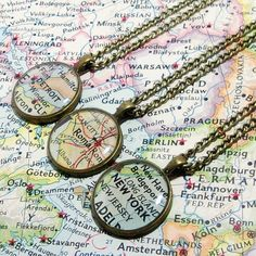 CUSTOM Map Necklace. You Select Location. Anywhere In The World. One Necklace. Map Pendant. Map Jewelry. Travel.