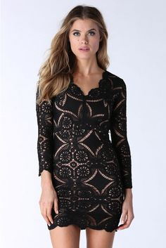 Lace Be Honest Mini Dress in Black   Necessary Clothing