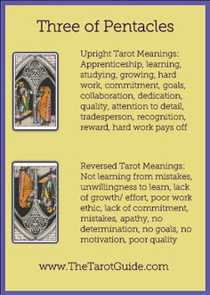 Three of Pentacles Tarot Flashcard showing the best keyword meanings for the upright & reversed card, free online Minor Arcana flashcards, made by professional psychic Tarot reader, The Tarot Guide, the easy way to learn how to accurately read Tarot. Tarot Significado, Tarot Cards For Beginners, Tarot Astrology, Astrology Zodiac, Online Tarot, Tarot Card Meanings, Tarot Spreads, Tarot Readers, Pentacle