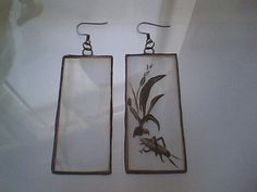 Reduced $20 hand painted stained glass earrings by GabrielStudiosArt - stained glass, glass painting, kiln fired, glass artist, glass painting design, stained glass art, painting on glass