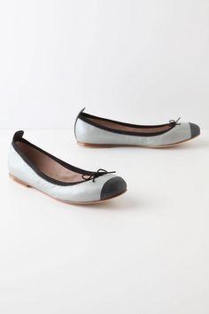 cap toe ballerina flats/ anthropologie