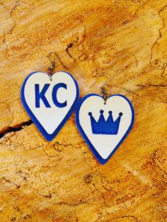 Excited to share the latest addition to our #etsy shop: KC/Royals leather earrings. http://etsy.me/2nLTE9j #jewelry #earrings #blue #boho #earwire #leather #women #white #sports