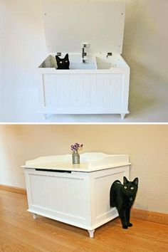 Litter box bench.  Has a panel inside with staggered entry door to catch excess litter from kitty's paws & to prevent dogs & children from getting to litter pan. Uhh... Good idea?