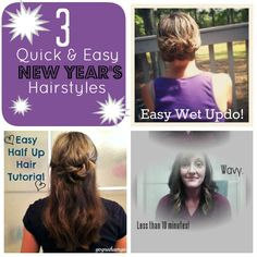 3 Quick and Easy Hairstyles for New Year's.  All under 10 minutes with video tutorials.
