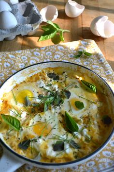 The View from Great Island | Minimal Monday: Baked Eggs in Fresh Yellow Tomato Sauce with Mixed Herbs and Goat Cheese