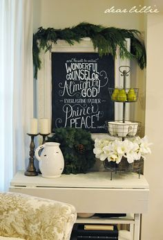 Dear Lillie: Christmas Chalkboard and Our Family Room Christmas Signs, All Things Christmas, Christmas Home, Christmas Holidays, Christmas Crafts, Christmas Decorations, Merry Christmas, Church Decorations, Celebrating Christmas