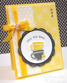 Teneale Williams., Stampin' Up!, Tea Shoppe-video included on page explaining how she did both the black doily and the yellow one inside the card