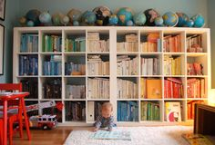 Color coordinated books + globe collection