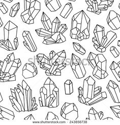 Find Seamless Vector Pattern Crystals Black White stock images in HD and millions of other royalty-free stock photos, illustrations and vectors in the Shutterstock collection. Thousands of new, high-quality pictures added every day. Bullet Journal Inspiration, Black And White Illustration, Dot Journals, Crystal Art, Crystal Drawing, Drawings, Doodle Art, Vector Pattern, Art Journal