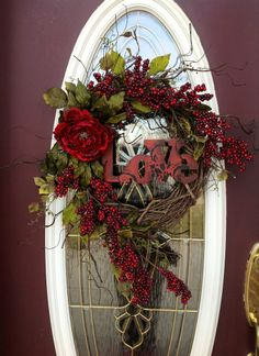 "valentines day wreath | Valentines Day Wreath Door Decor..""Love"" 