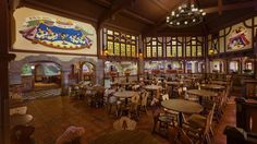 Main seating area inside Pinocchio Village Haus at Magic Kingdom park