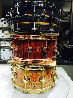 DW Icon Snares from top to bottom: Nick Mason of Pink Floyd, Neil Peart of Rush, and Roger Taylor of Queen