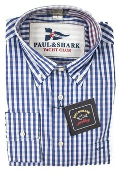 Paul & Shark Yachting gives a lovely nautical look in this blue gingham dress shirt. | Find yours! http://www.frieschskys.com/all-shirts/dress-shirts | #frieschskys #mensfashion #fashion #mensstyle #style #moda #menswear #dapper #stylish #MadeInItaly #Italy #couture #highfashion #designer #shopping