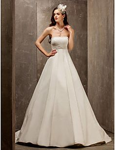 A-line Princess Strapless Sweep/Brush Train Satin And Tulle... – AUD $ 277.99