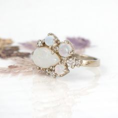 Opal Cluster Ring Gold with Diamonds // A by MelanieCaseyJewelry