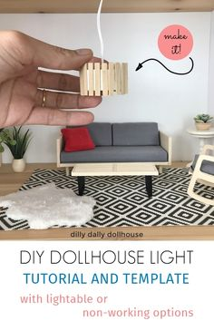 Tutorial on making a modern dollhouse ceiling light. Kids Doll House, Doll House Plans, Barbie Doll House, Barbie Dolls Diy, Barbie Barbie, Barbie Clothes, Modern Dollhouse Furniture, Diy Barbie Furniture, Furniture Legs