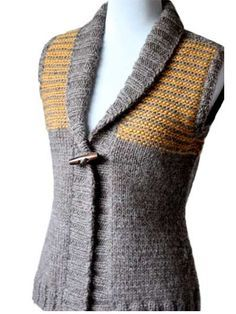 For an easy knit, this vest pattern looks awesome with it's ribbed banding and color stripes. The best part of the pattern, however, is that it's seamless! Yeah!