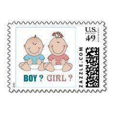 Boy or Girl Gender Reveal Baby Shower Stamps