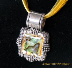 Yellow Abalone Shell Pendant Vintage - $35.00 - Vintage Items and Unique Gifts by Yankee Burrow