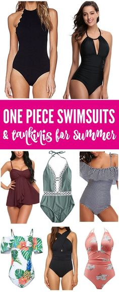 Here are some Cheap One Piece Swimsuits & Tankinis for Summer! These styles are easy, comfortable, and affordable modest bathing suits for women for the pool or beach! #lemonpeony #swim #swimsuits #summer