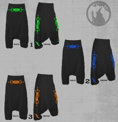 Unisex Harem pants with crop circle SIRIUS  print neon vinyl or Reflective print-psy clothing- festival-Festival Wear blacklight active by PSYDRUID on Etsy