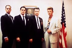 'Twin Peaks: Fire Walk with Me' (1992) with Miguel Ferrer, Kyle Maclachlan, David Lynch and David Bowie (left to right).