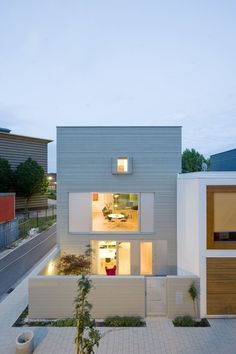contemporary home with back yard