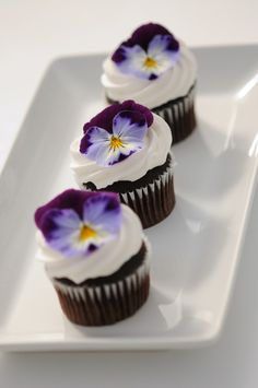 Cool Wave pansies garnishing mini cupcakes