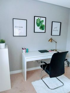 a modern working space with a Micke desk, a comfy black armchair and several artworks for a cool look Ikea Home Office, Home Office Storage, Home Office Design, Interior Design Living Room, Study Room Decor, Home Decor Bedroom, Ikea Micke, Coin Couture, Desk Inspiration