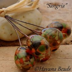 SANGRIA - Set of 6 Handmade Lampwork Glass Headpins by HavanaBeads.etsy.com