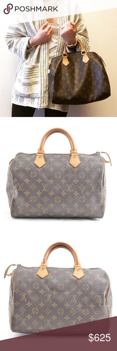 Louis Vuitton Speedy 30 Monogram Canvas Satchel Beautiful %100 authentic Vintage Louis Vuitton Speedy 30 Satchel bag. Absolutely lovely condition, very light patina on the vachetta leather; it is a little dry from age but I will condition the bag before shipping so it will not be dry upon delivery. No dust bag.  This is a vintage LV and the vachetta leather is much higher quality and much thicker than on the newer bags! I prefer the vintage ones over the new ones because of the quality ❤️…