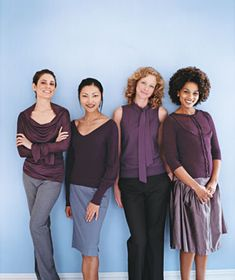 The 4 Universally Flattering Clothing Colors: eggplant (Pantone 19-2311 TC) - photo by Deborah Jaffe for RealSimple.com. Shucks... 3 of these are my best colors, and a big part of the reason I've typed myself as a Summer....