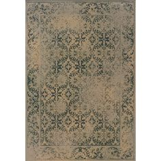 This beautiful transitional area rug has the look of an old-world, vintage traditional rug in washed romantic shades of beige, blue and green.  Encompassing the best of both worlds, this rug offers high style, affordability and ease of care.
