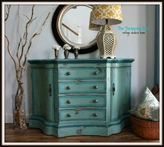 Painted Furniture Teal Blue and Green Entry / Foyer Chest by theTurquoiseIris, $495.00