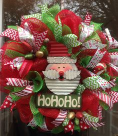 HO HO HO!!! Santa wreath. Please visit my FB page for more of my designs: Ms. Kay's a-DOORable Designs.