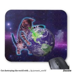 Cat destroying the world with eye laser mouse pad