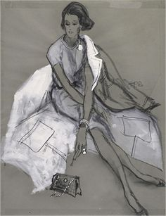 Babe Paley by Kenneth Paul Block. #fashion illustration