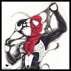 Peter gets rid of Symbiote, and The Symbiote pulling out off The Spider-man Venom Spiderman, Spiderman Art, Amazing Spiderman, Marvel Concept Art, Venom Art, Conceptual Drawing, Design Comics, Marvel Comics Art, Sketch Markers