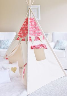 Coral Arrows Bekko Natural Canvas Play Tent Teepee Playhouse with Roll Up Flap Window